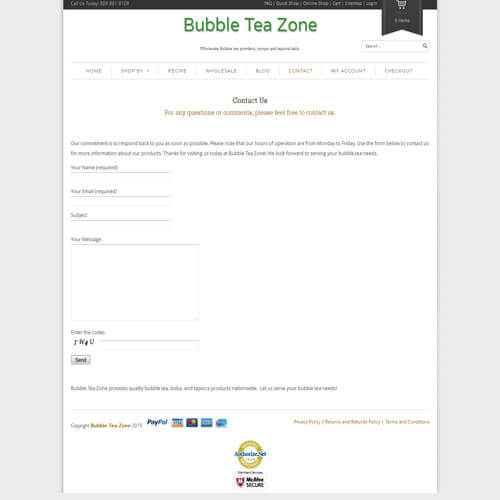 Bubble Tea Zone - Contact