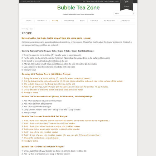Bubble Tea Zone - Recipe