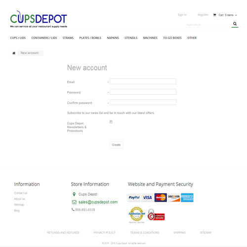 Cups Depot - New account
