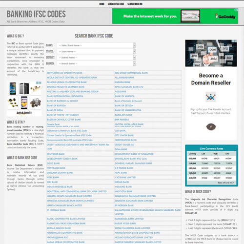 Banking IFSC Codes